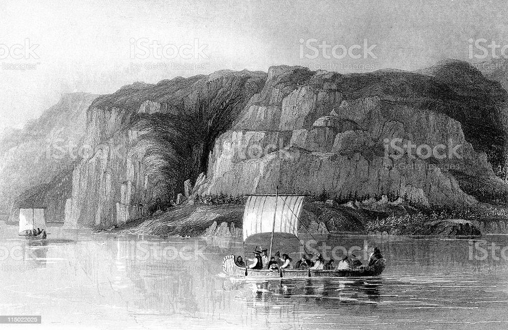 1830s Explorers on Great Slave Lake, Northwest Territories, Canada royalty-free stock vector art
