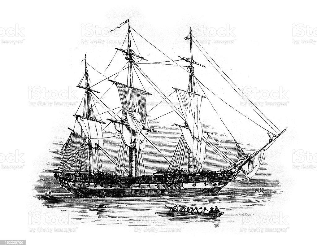 18th Century British Warship vector art illustration