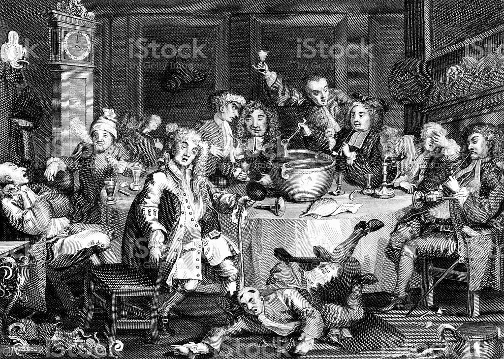 18th Century Drinking Party in England by Hogarth royalty-free stock vector art
