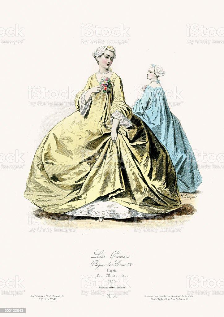 18th Century Fashion - Les paniers royalty-free stock vector art