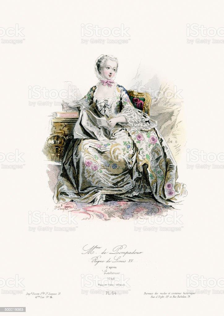 18th Century Fashion - Madame de Pompadour vector art illustration