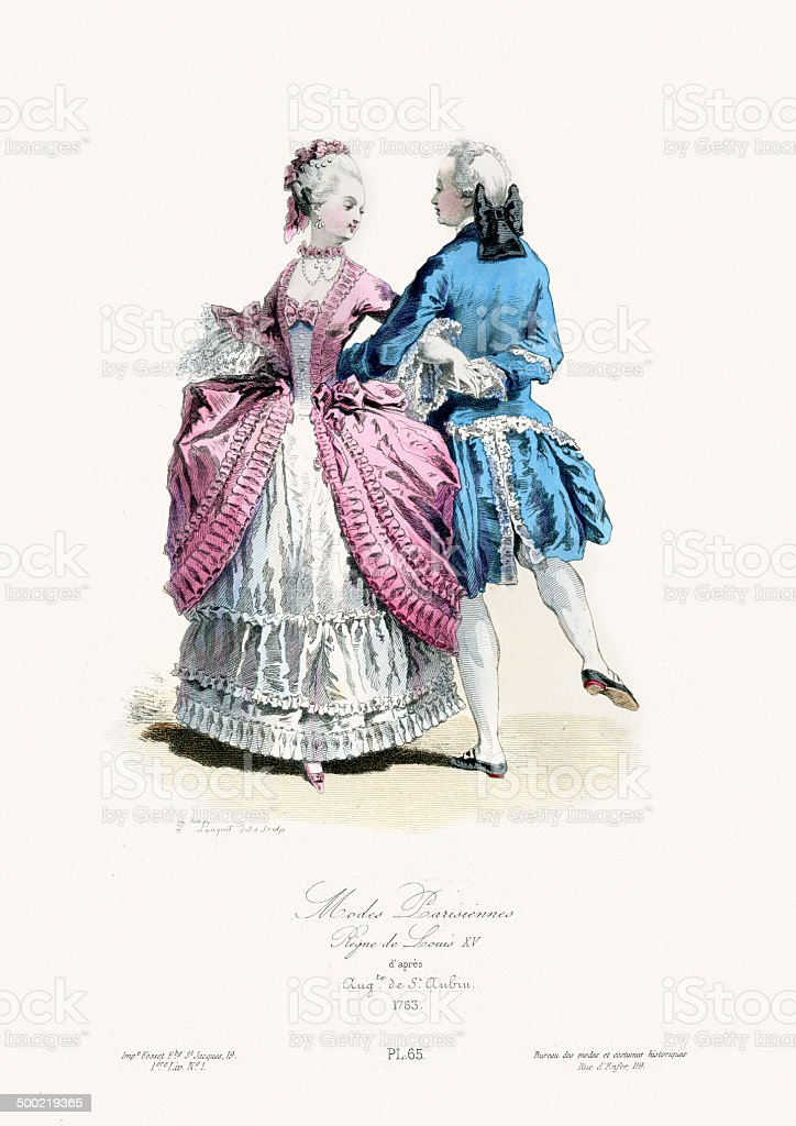 18th Century Fashion - Paris vector art illustration