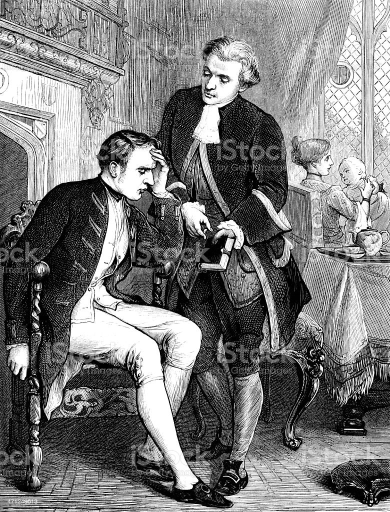 18th century men in discussion (Victorian illustration) royalty-free stock vector art