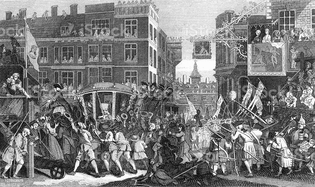 18th Century Parade and Celebration, Political Cartoon by Hogarth royalty-free stock vector art