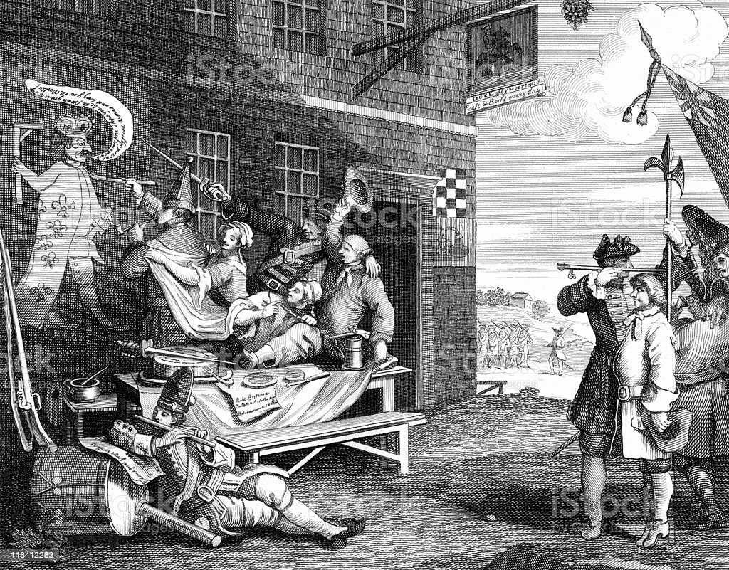 18th Century Parody of England, by William Hogarth vector art illustration