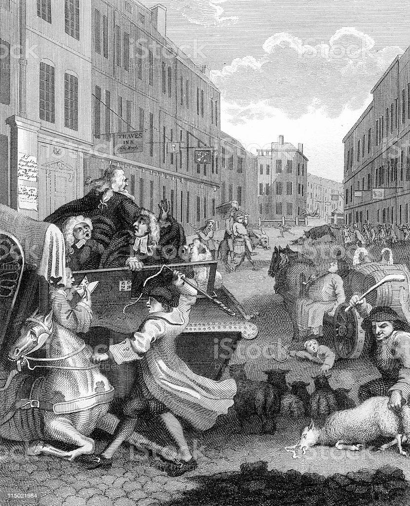 18th Century Political Cartoon Depicting Cruelty to Animals by Hogarth vector art illustration