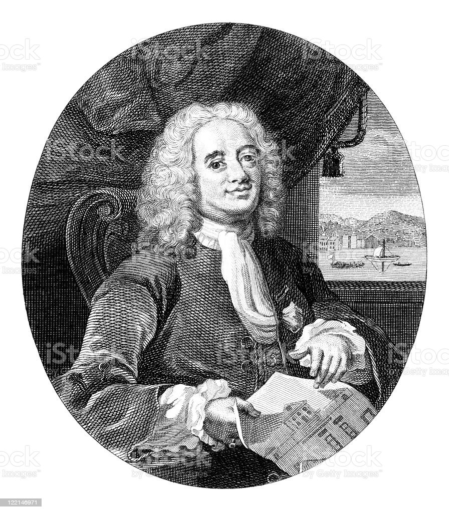 18th Century Portrait of Daniel Lock, English Architect vector art illustration