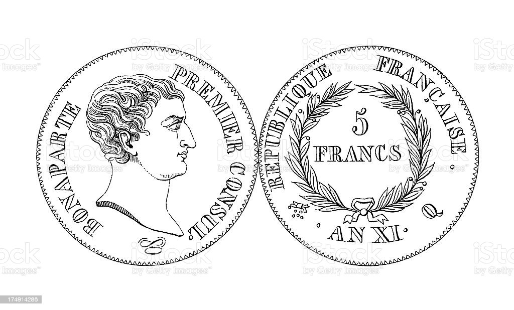 18th-century Five French Franc Coin | Historic Illustrations vector art illustration