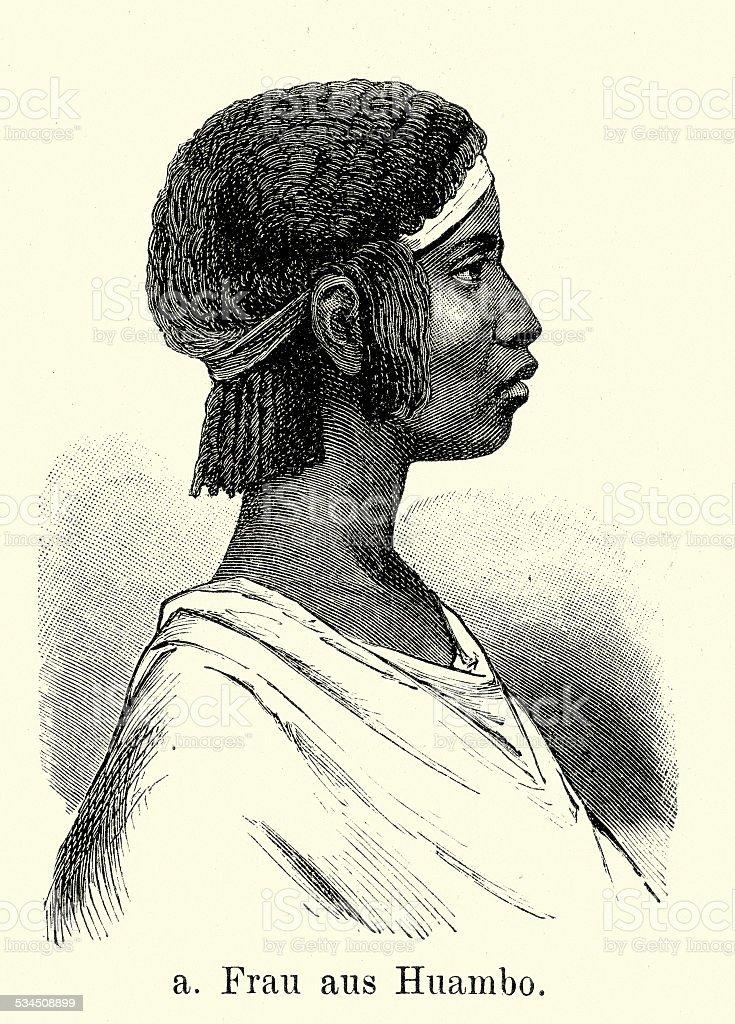 19th Century Africa - Huambo woman vector art illustration