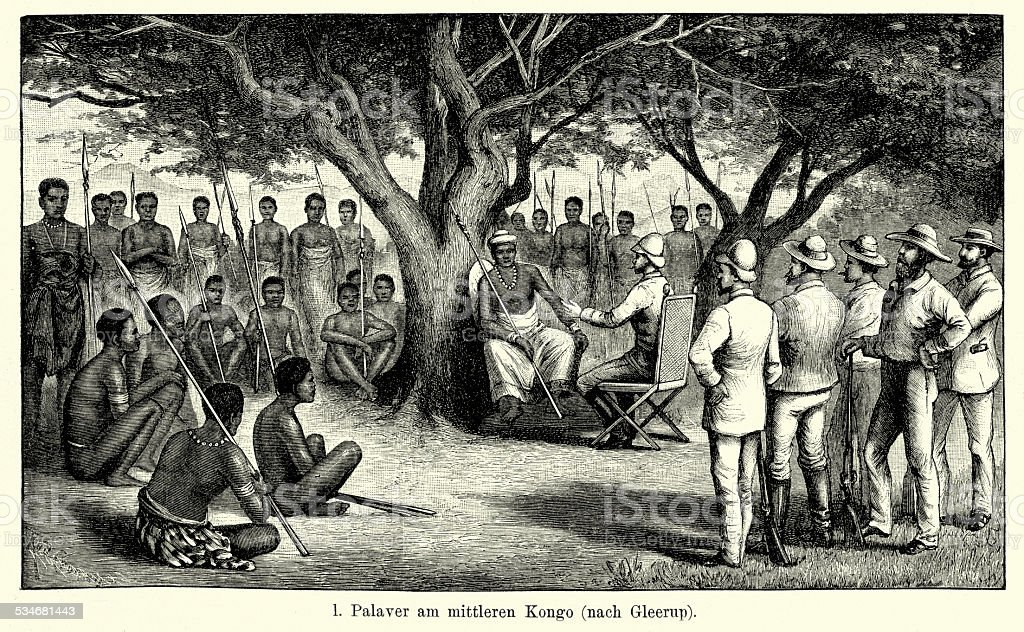 19th Century Africa -  Meeting in the Congo vector art illustration