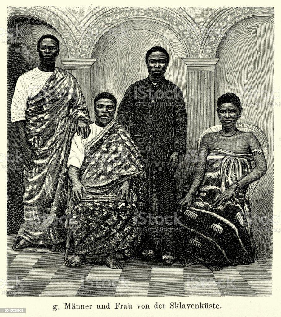 19th Century Africa - Men women from the Slave Coast vector art illustration
