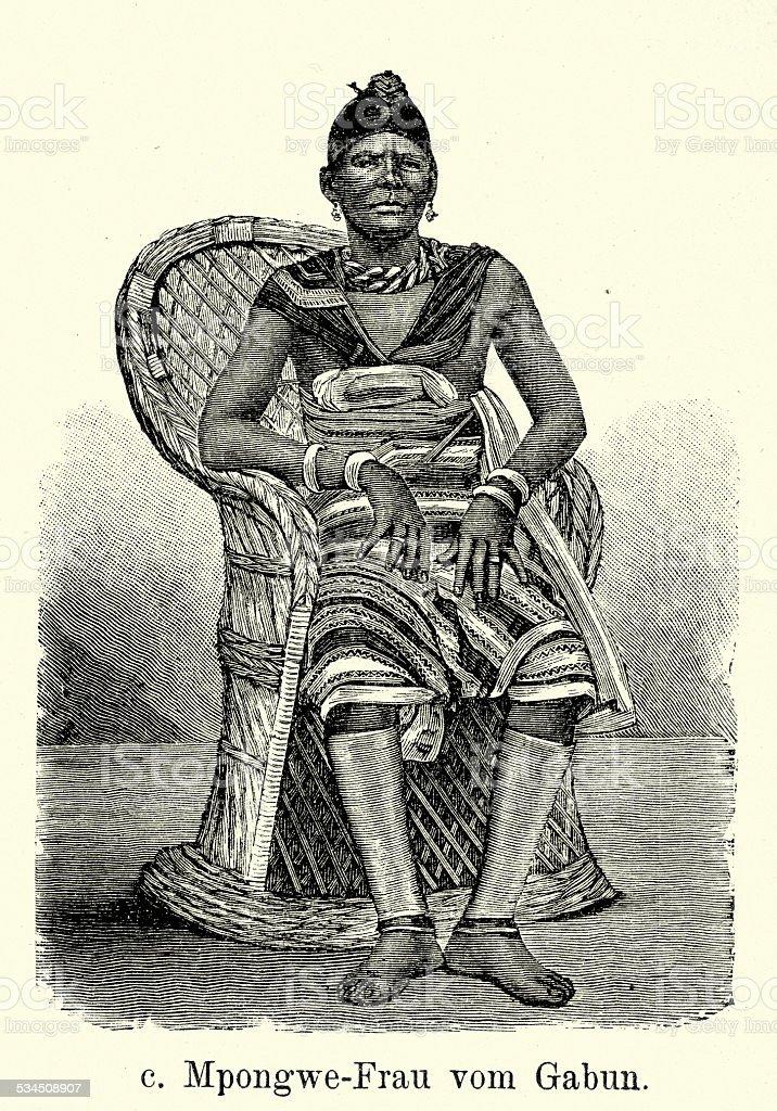 19th Century Africa - Mpongwe woman from Gabon vector art illustration