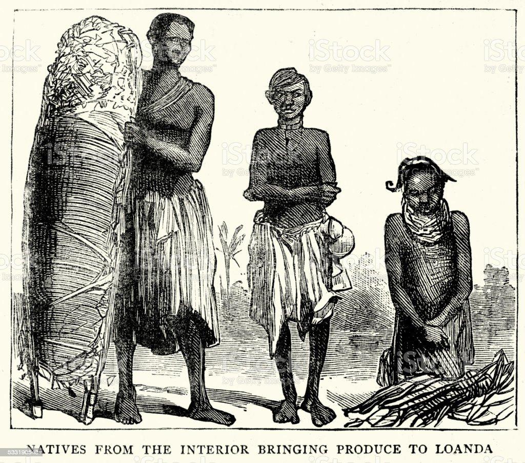 19th Century Africa - Natives of Loanda vector art illustration