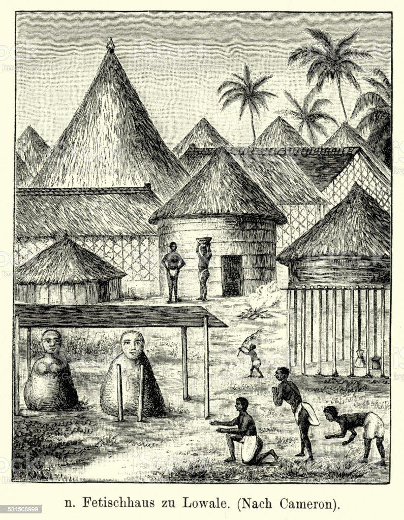 19th Century Africa - Village vector art illustration