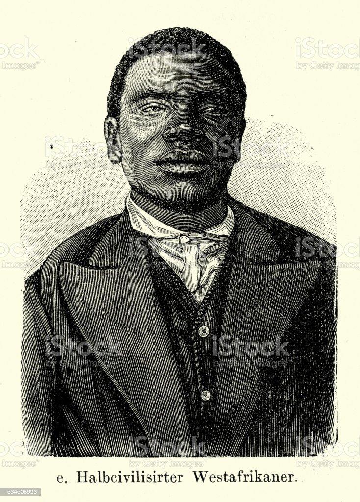 19th Century Africa - West African Man vector art illustration