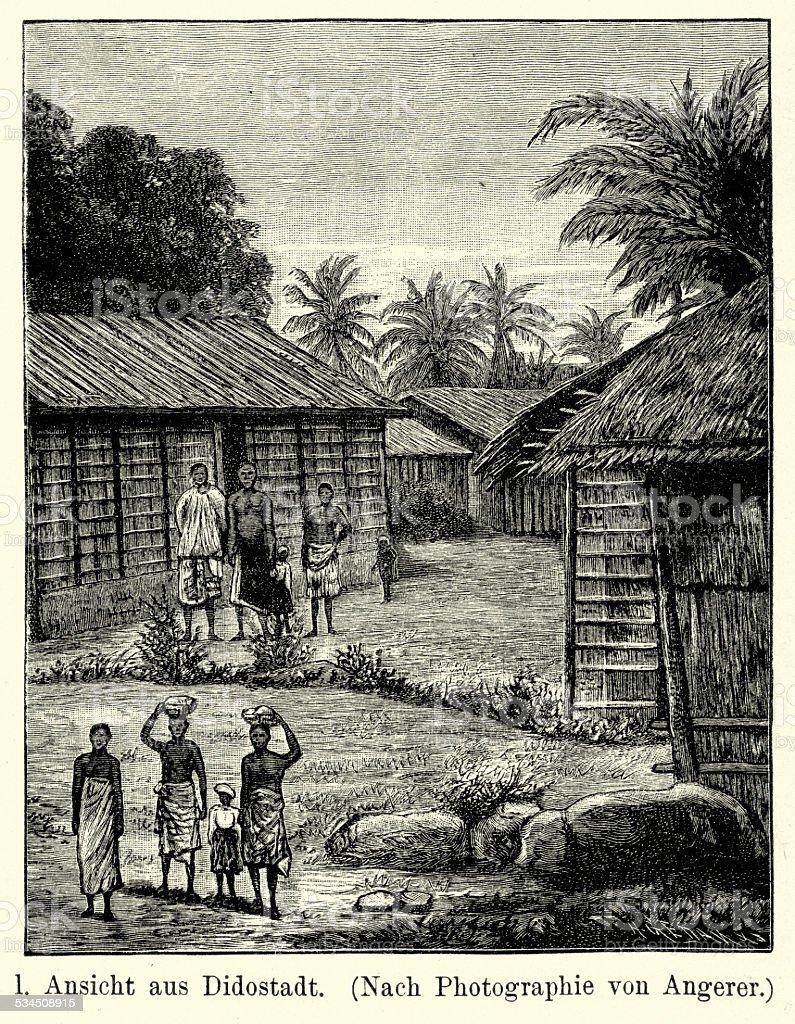 19th Century Africa - West Coast Village vector art illustration