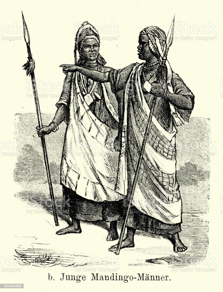 19th Century Africa - Young men of Mandingo vector art illustration