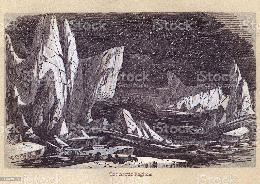 19th Century Arctic scene vector art illustration