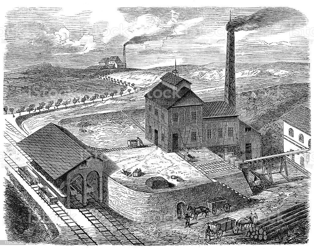 19th Century Coal Mine royalty-free stock vector art