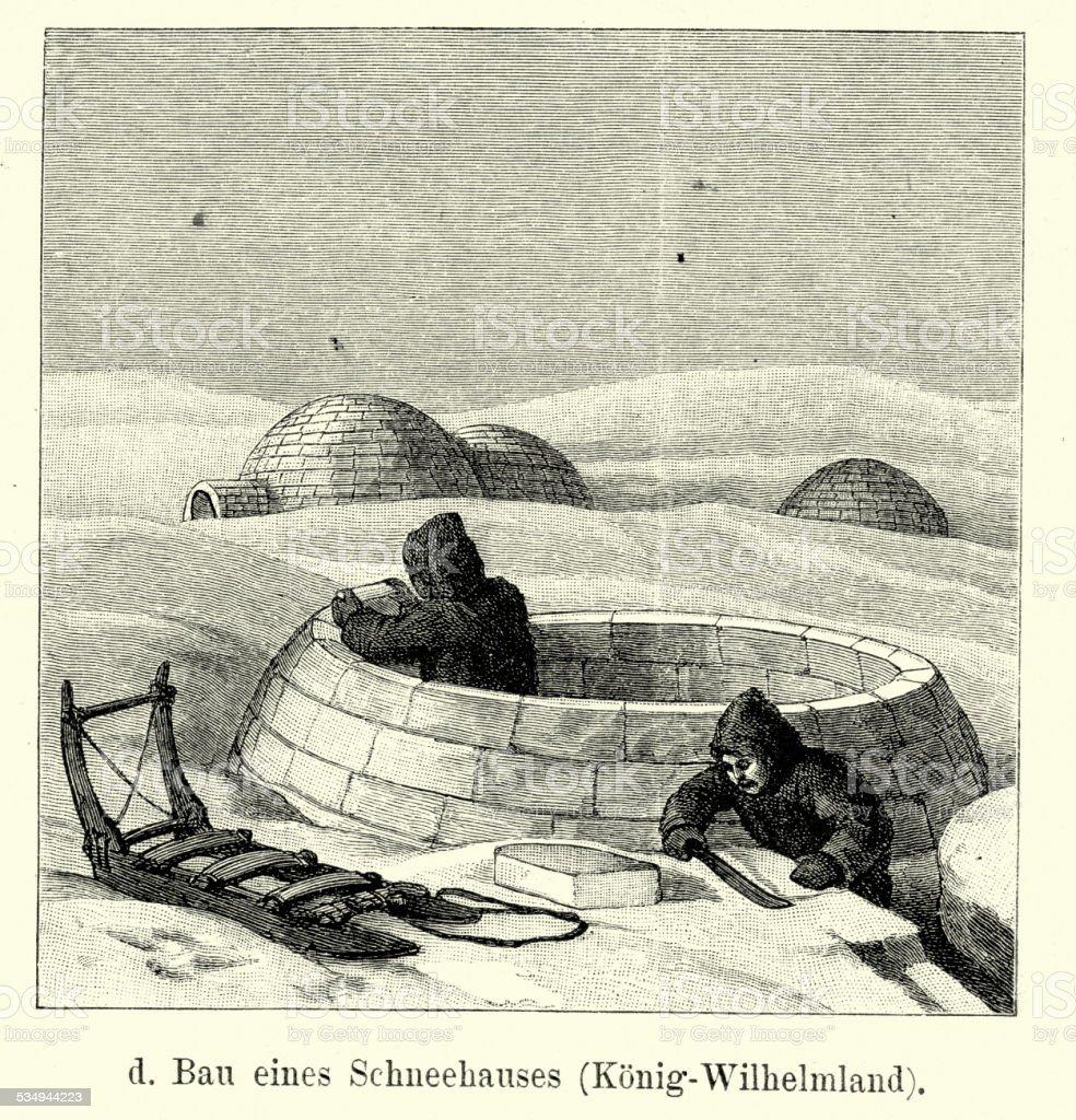 19th Century Construction of a Igloo vector art illustration