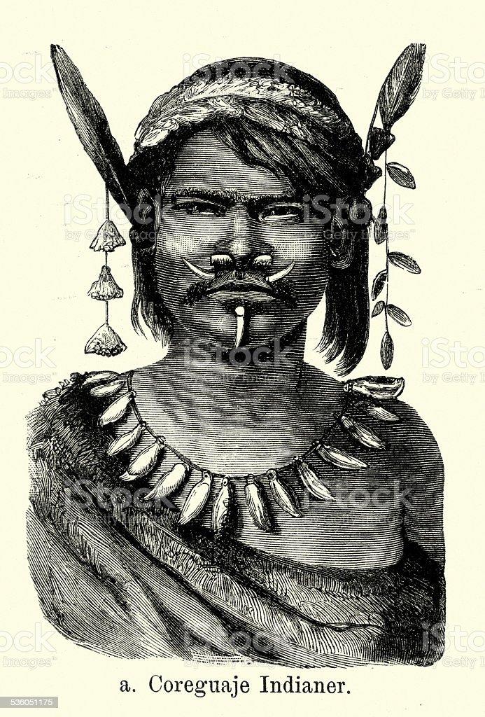 19th Century Coreguaje Indian vector art illustration