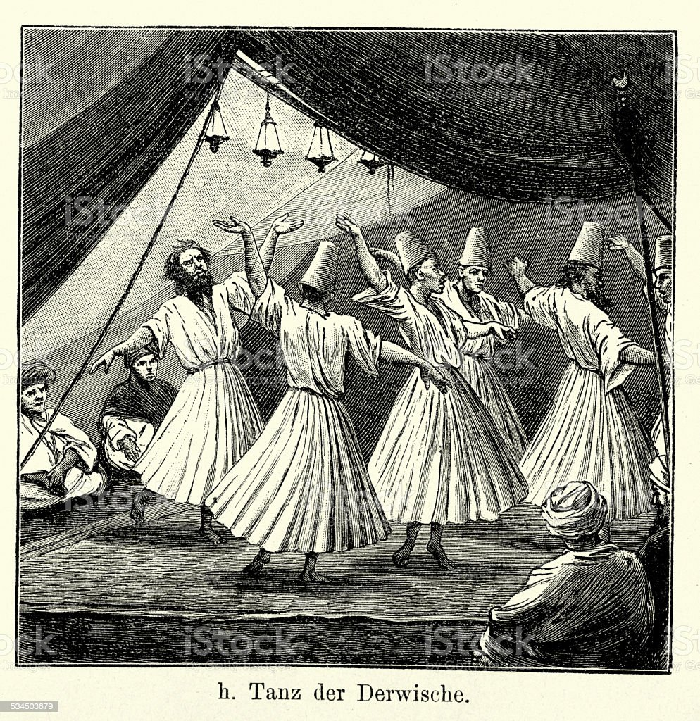 19th Century Dance of the Dervishes vector art illustration