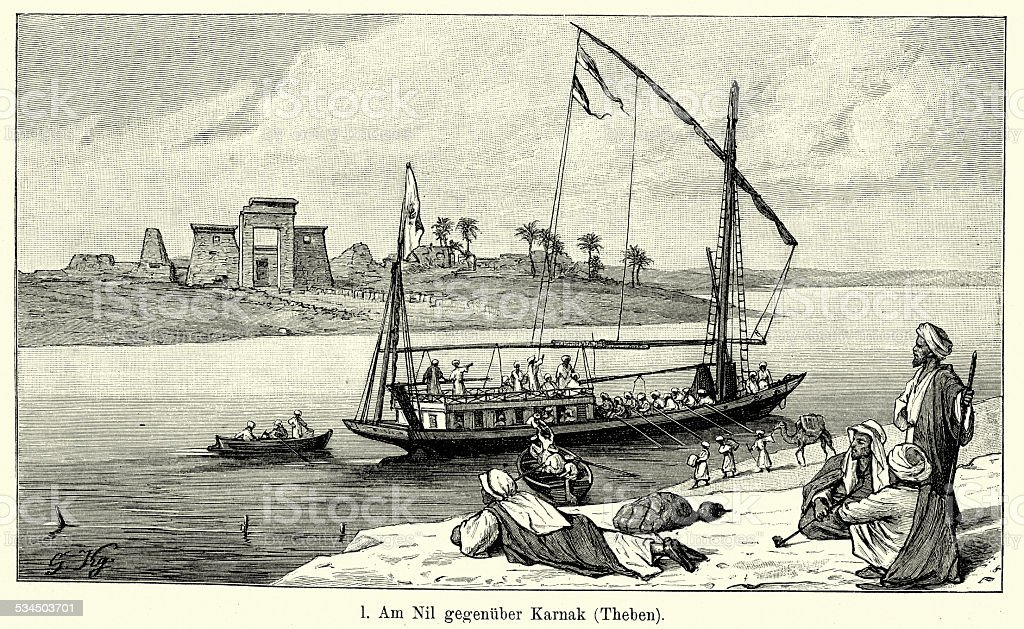 19th Century Egypt - On the Nile opposite Karnak vector art illustration