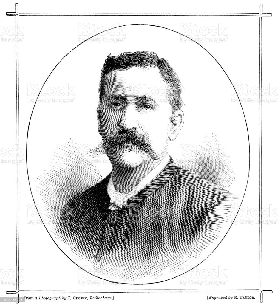 19th century engraved portrait of the Rev. William H Carr M.A.; Victorian clergy; Goole, Liverpool, Cambridge, Hull, Rotherham, Selby, vector art illustration