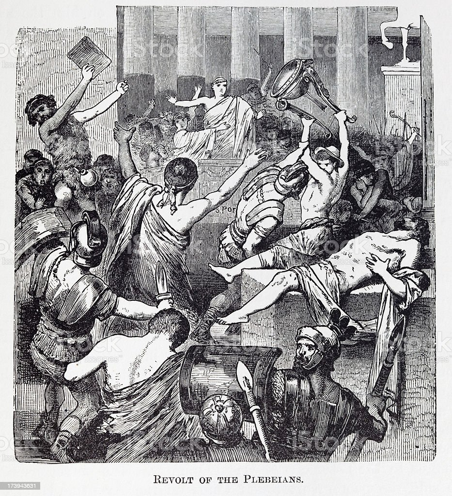19th century engraving about revolt of plebeians vector art illustration