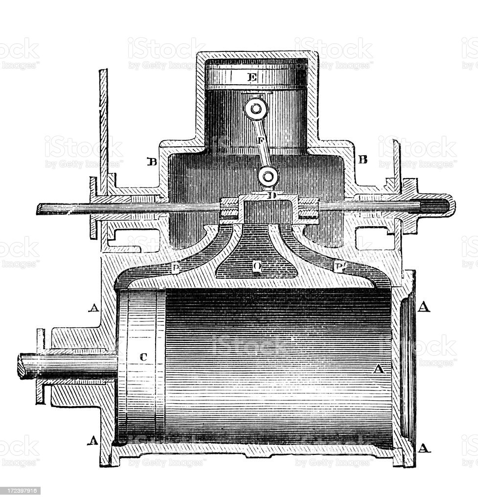 19th century engraving cross section of a steam engine royalty-free stock vector art