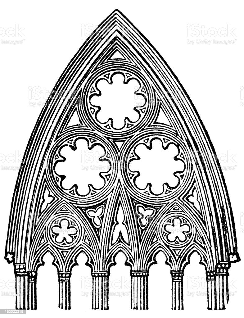 19th century engraving of a cathedral arch vector art illustration