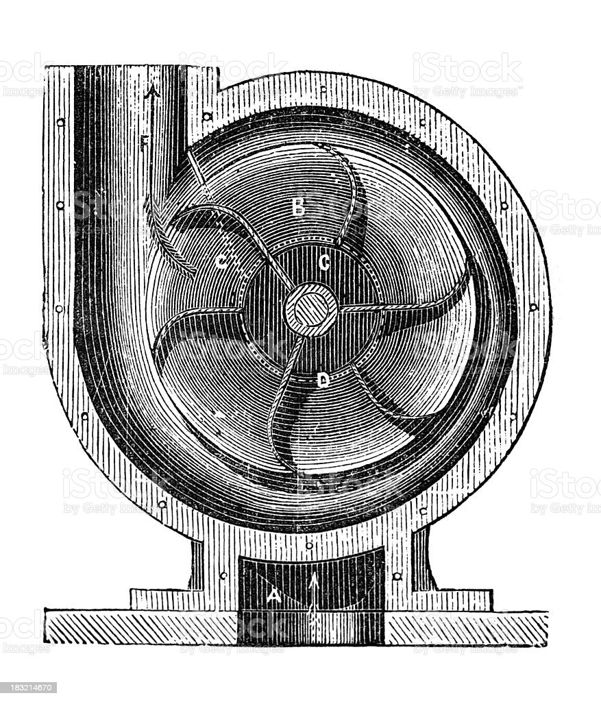 19th century engraving of a centrifugal pump royalty-free stock vector art