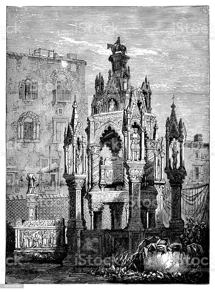19th century engraving of a courtyard at Doge's Palace, Venice, vector art illustration