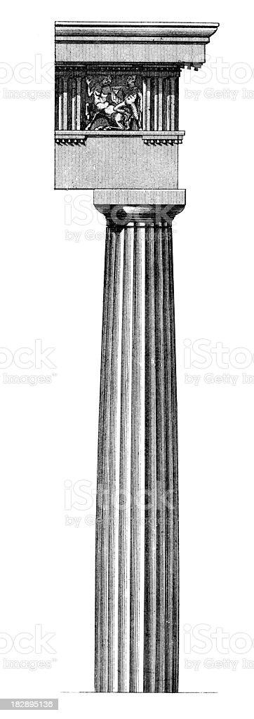19th century engraving of a Doric column royalty-free stock vector art