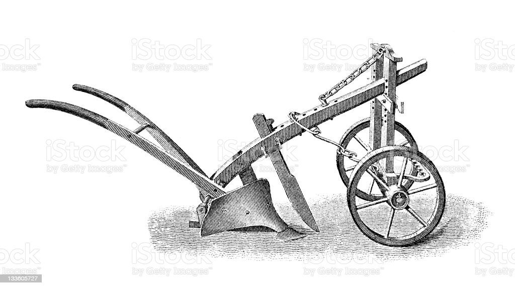 19th century engraving of an agricultural plough vector art illustration