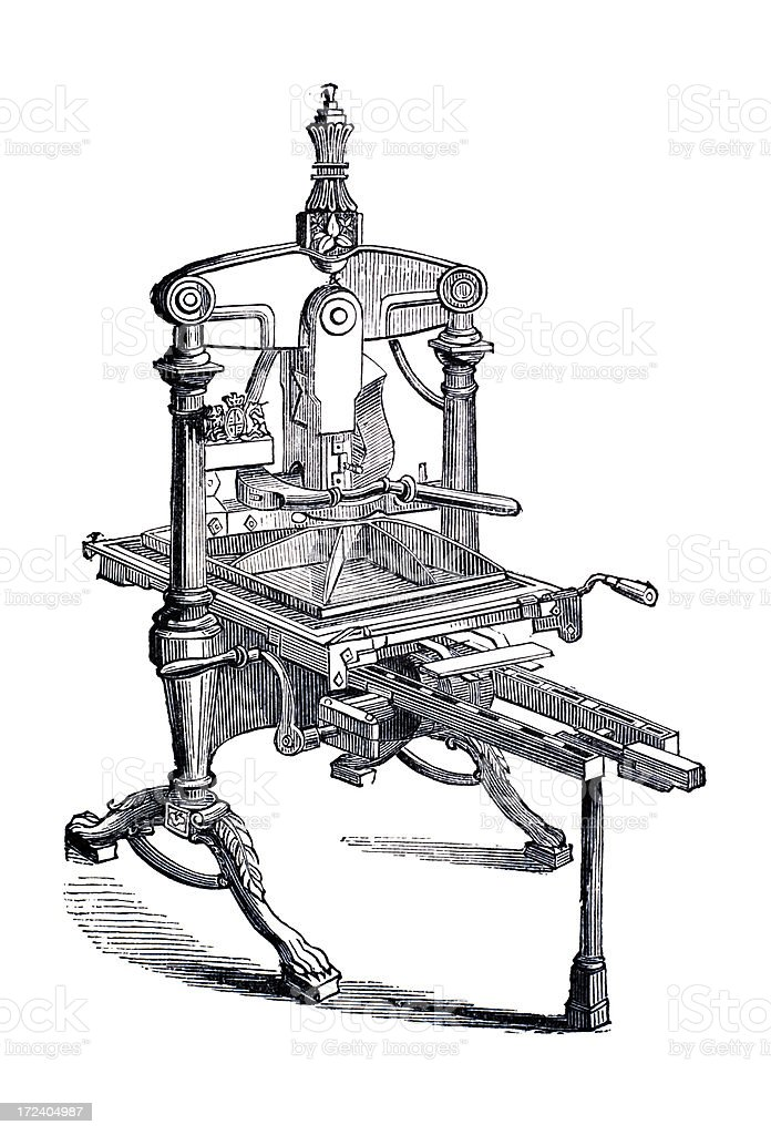 19th century engraving of an albion printing press royalty-free stock vector art