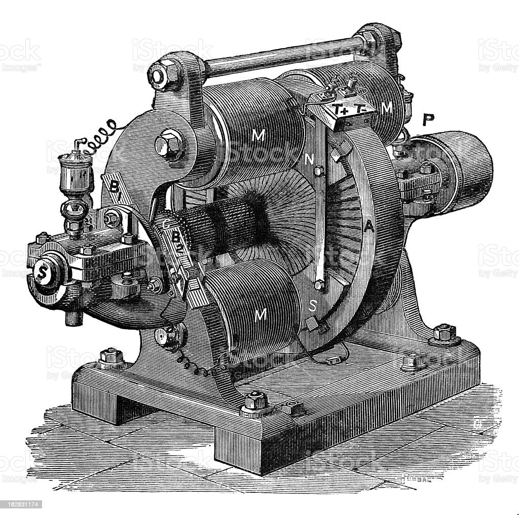19th century engraving of an electrical generator royalty-free stock vector art