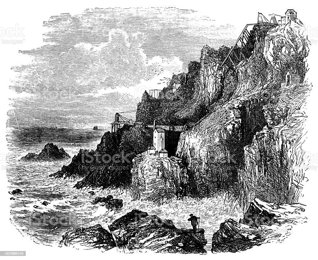 19th century engraving of an old Cornwall tin mine, UK vector art illustration