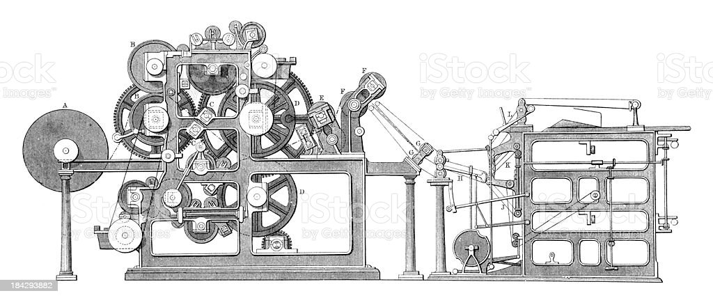 19th century engraving of an old printing press vector art illustration