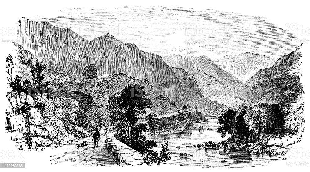 19th century engraving of Borrowdale, Lake District, UK vector art illustration