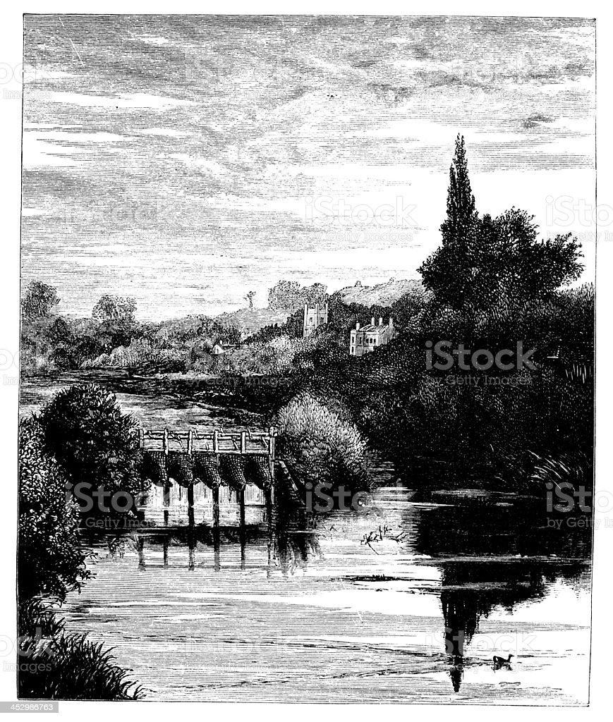 19th century engraving of Caversham, Berkshire, UK royalty-free stock vector art