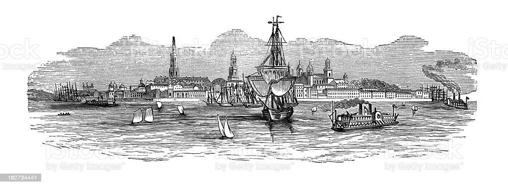 19th century engraving of Charleston harbour vector art illustration