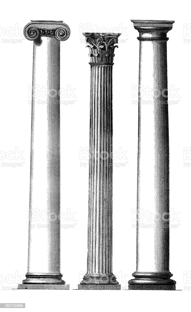 19th century engraving of classical Greek pillars vector art illustration
