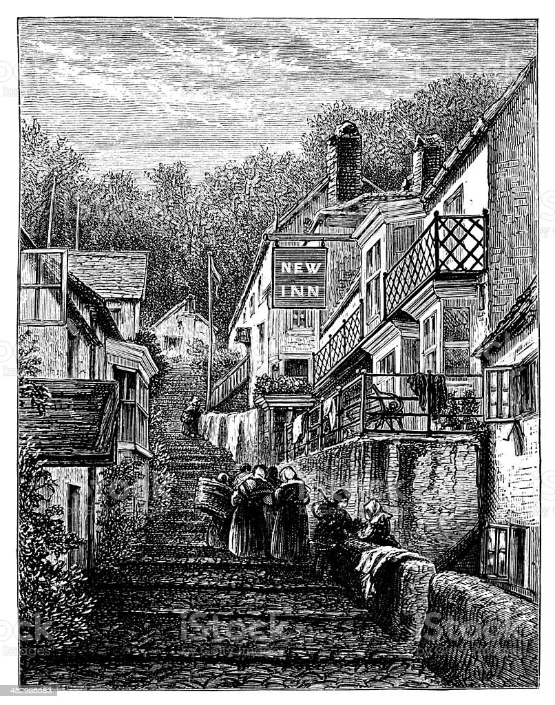 19th century engraving of Clovelly village, Devon, UK vector art illustration