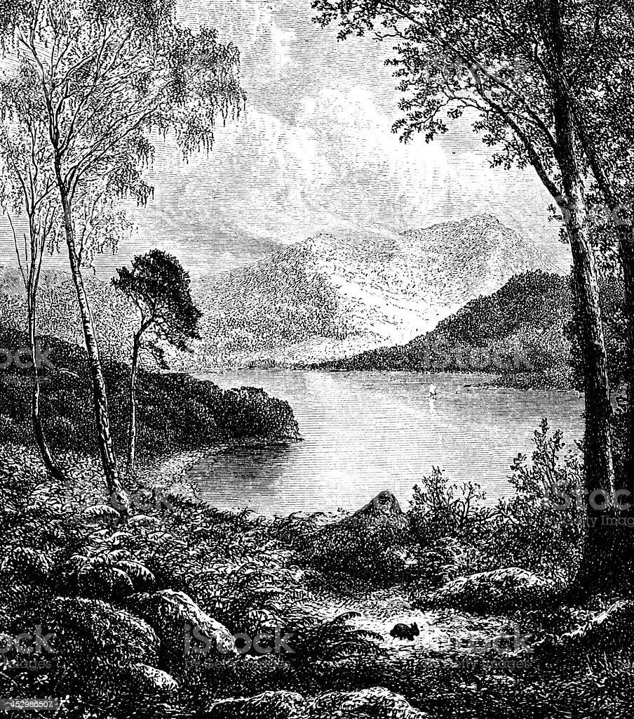 19th century engraving of Derwentwater, Lake District, UK vector art illustration