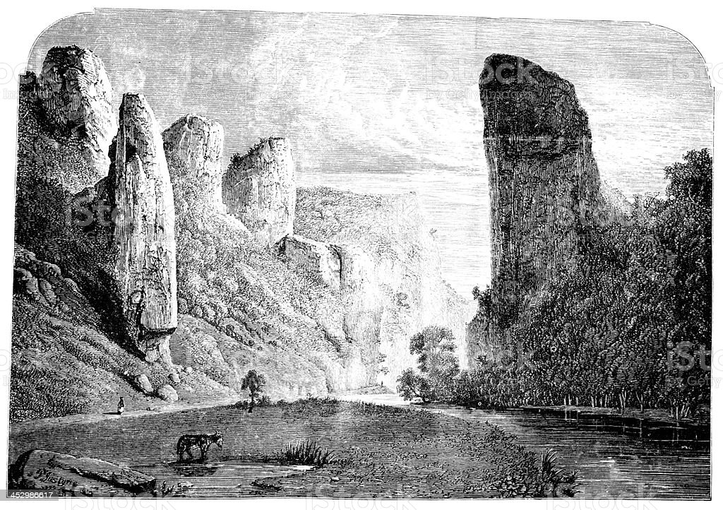 19th century engraving of Dovedale valley, Peak District, UK vector art illustration