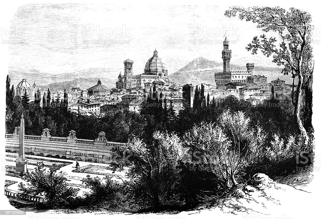 19th century engraving of Florence, Italy vector art illustration