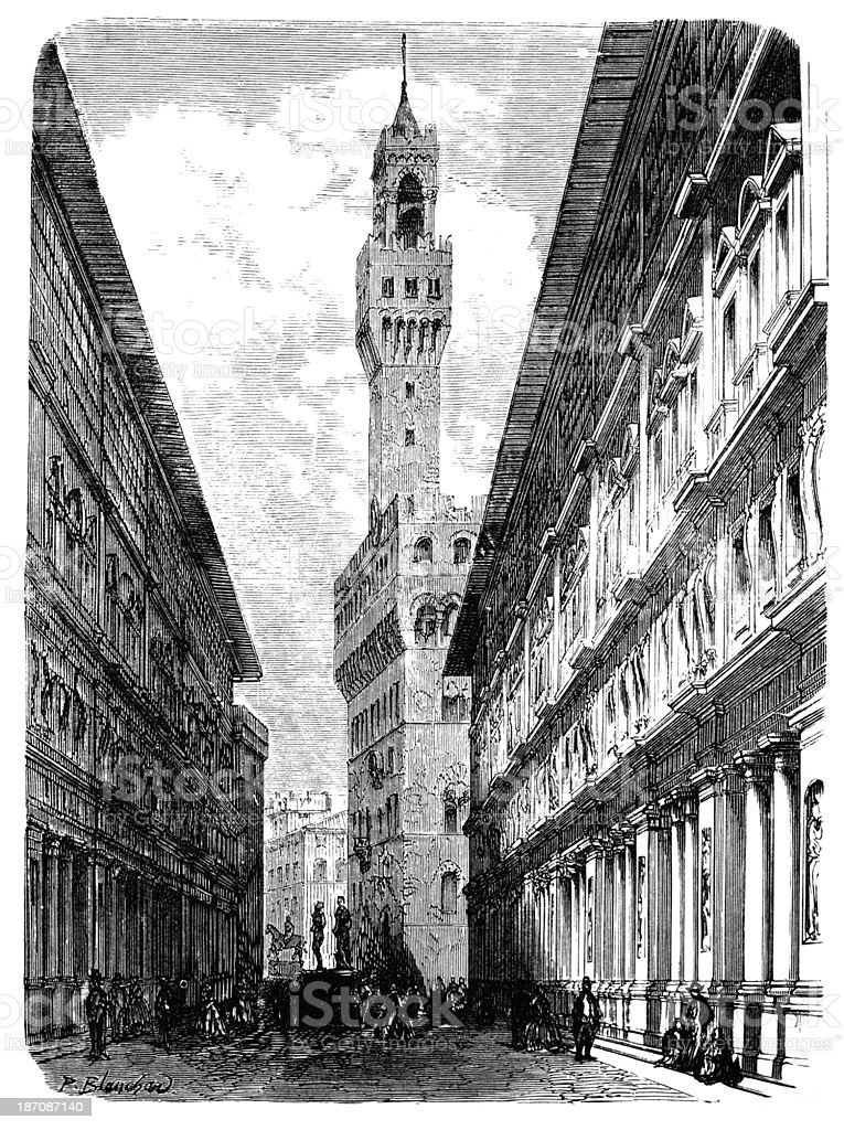 19th century engraving of Florence street, Italy vector art illustration