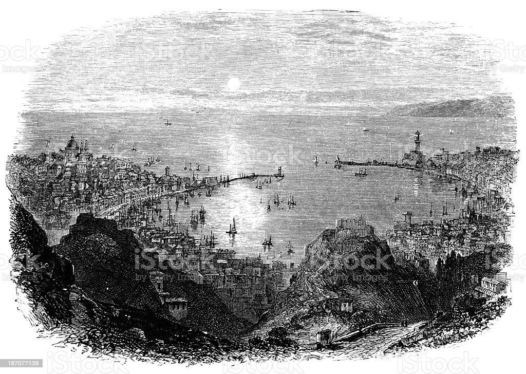 19th century engraving of Genoa, Italy vector art illustration