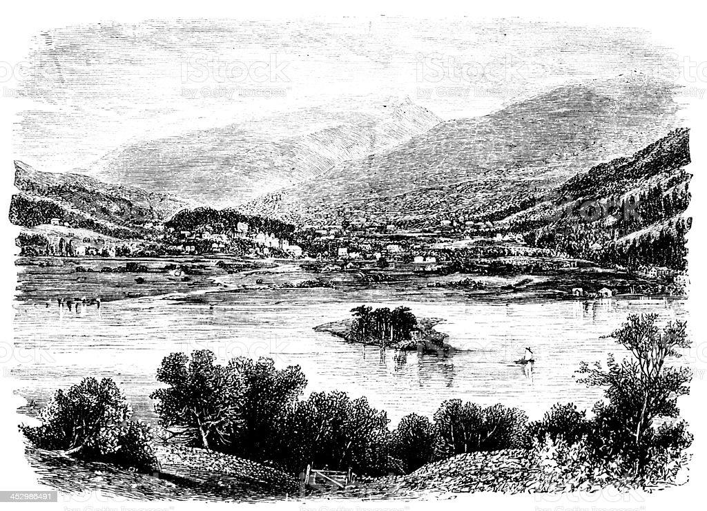 19th century engraving of Grasmere village, Lake District, UK vector art illustration
